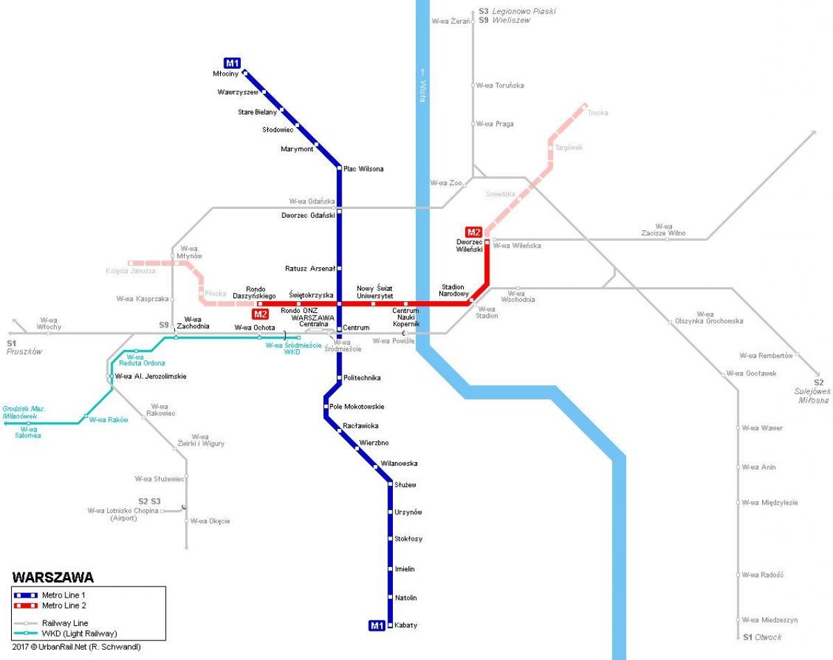 mapa metra warszawa Metro mapa Polski   mapa metra Warszawa Polska (województwo