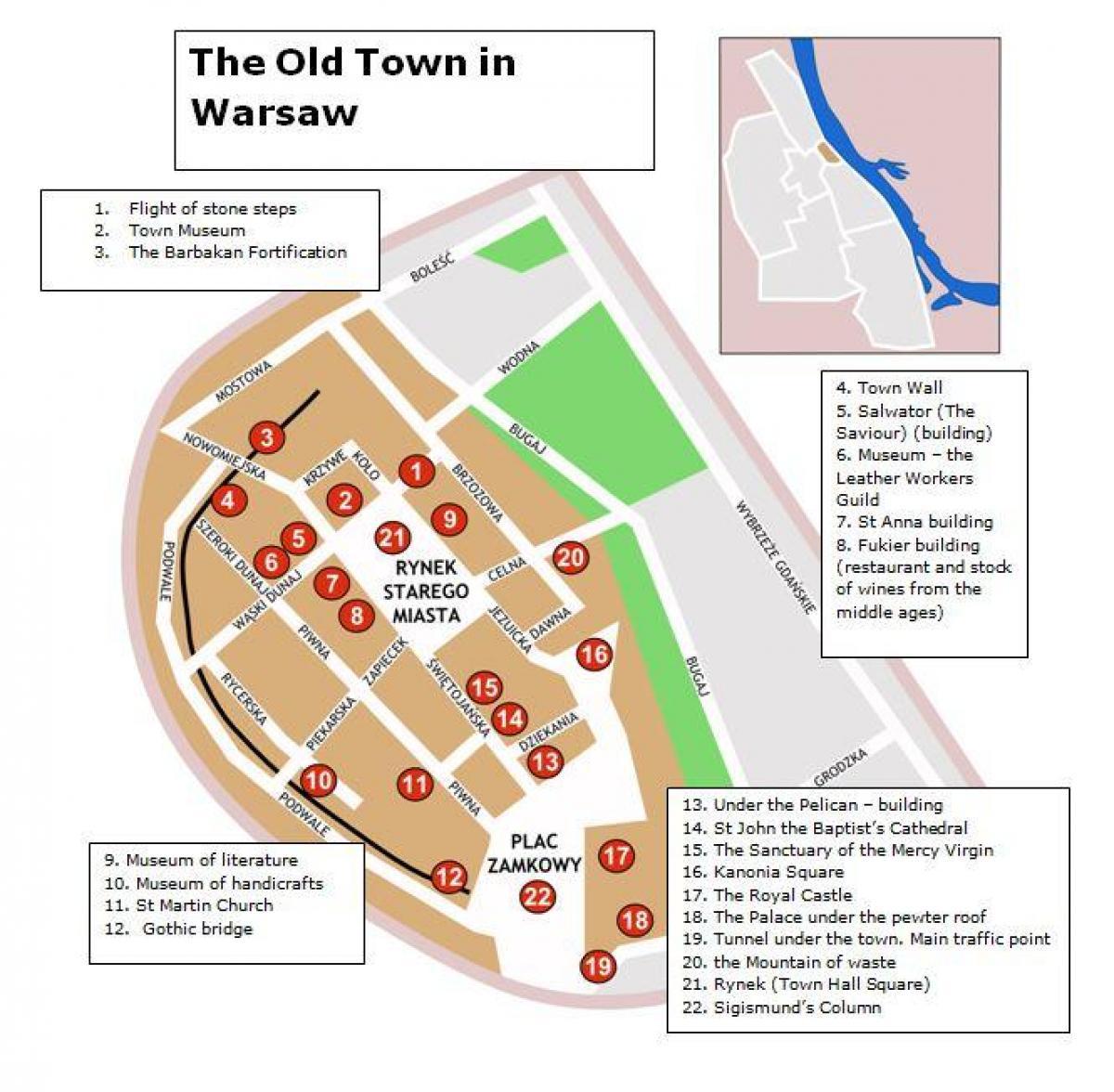 Warszawa Stare Miasto Mapa Mapa Stare Miasto W Warszawie