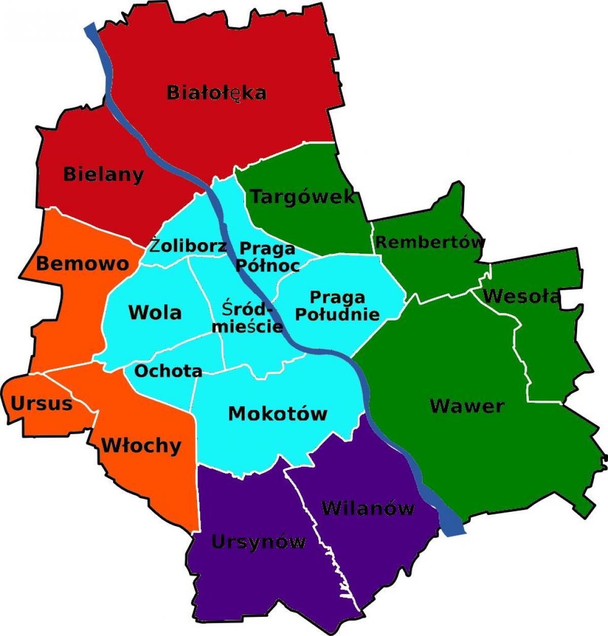 Warszawa Mapa Obszarow Mapa Dzielnic Warszawy Wojewodztwo